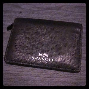 Black Leather Compact Coach Wallet